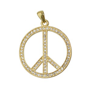 "Peace Sign with Rhinestones Pendant - [1 3/4"" Diameter]"