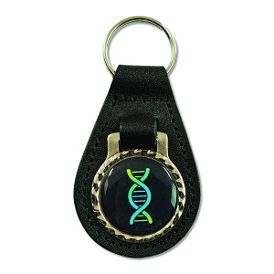 "DNA Strand Black Leather Key Chain Fob - [3"" Tall]"
