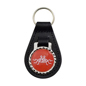 "FSM Flying Spaghetti Monster Black Leather Keychain Fob - 3"" Tall"