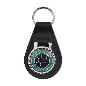 "Caffeine Molecule Black Leather Keychain Fob - 3"" Tall"