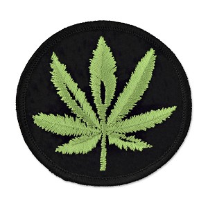 "Pot Leaf Embroidered Patch - [3"" Diameter]"