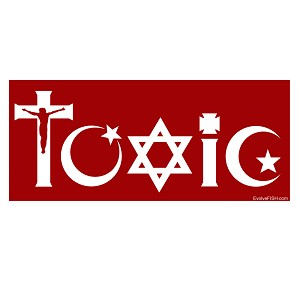 "Toxic Religion Bumper Sticker 5"" x 2"""