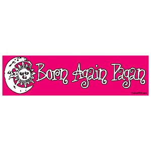 "Born Again Pagan Pink Bumper Sticker 11"" x 3"""