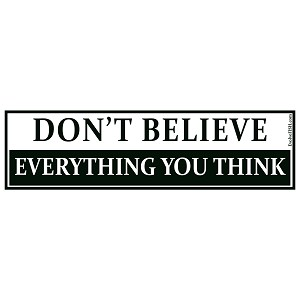 "Don't Believe Everything You Think Bumper Sticker 11"" x 3"""