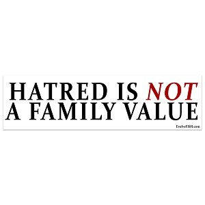 "Hatred is Not a Family Value Bumper Sticker 11"" x 3"""