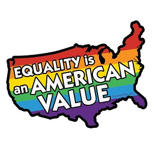 "Equality is an American Value Bumper Sticker 5"" x 4"""