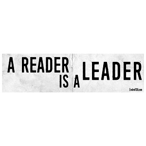 "A Reader is a Leader White Bumper Sticker 11"" x 3"""