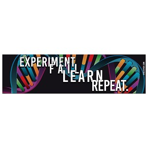"Experiment Fail Learn Repeat Bumper Sticker - [11"" x 3""]"