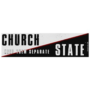 "Church and State Keep Them Separate Bumper Sticker 11"" x 3"""