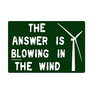 "The Answer Blowing in the Wind Bumper Sticker - [5"" x 3""]"
