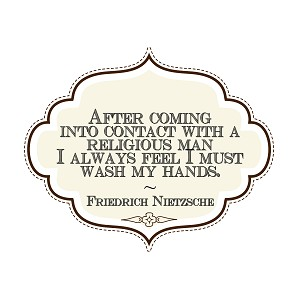 "After Contact with Religious Man Must Wash Hands Bumper Sticker 5"" x 4"""