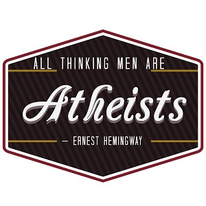 "All Thinking Men are Atheists Bumper Sticker 5"" x 4"""