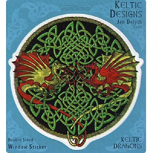 "Celtic Dragons Keltic Designs Translucent 4.5"" Window Sticker"