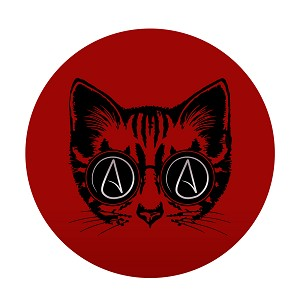 "Circle A for Atheist Cat 5"" Diamter Bumper Sticker"