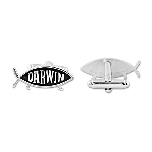 "Darwin Fish Silver Cufflinks - 1"" Wide"