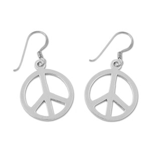 "Peace Symbol Silver Earrings - 3/4"" Diameter"