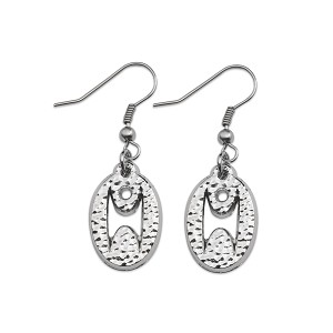 "Humanist Oval Earrings - 3/4"" Tall"
