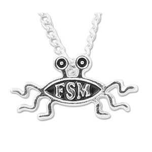"FSM Flying Spaghetti Monster Necklace - 1"" Wide"