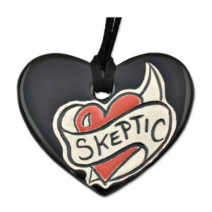 "Skeptic Heart Ceramic Necklace - 2.375"" Wide"