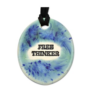 "Free Thinker Ceramic Necklace - 2"" Tall"