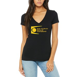 Colorado Secular Conference Women's Cotton V-Neck T-Shirt - Black