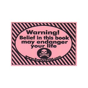 "Warning Belief in This Book May Endanger Your Life Bumper Sticker 5"" x 3.25"""