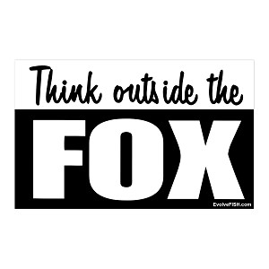"Think Outside the Fox Bumper Sticker 5"" x 3"""