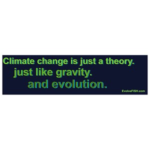 "Climate Change is Just a Theory Like Gravity and Evolution Bumper Sticker 11"" x 3"""