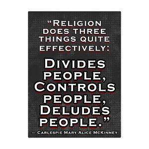 "Religion Does 3 Things Bumper Sticker 5"" x 3.5"""