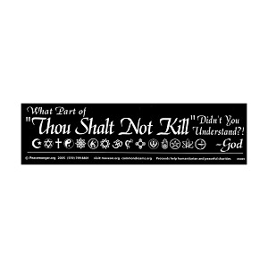 "What Part of ""Thou Shalt Not Kill"" Bumper Sticker"