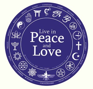 Live in Peace and Love Interfaith Round Bumper Sticker