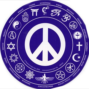 Interfaith Peace Symbol Round Bumper Sticker